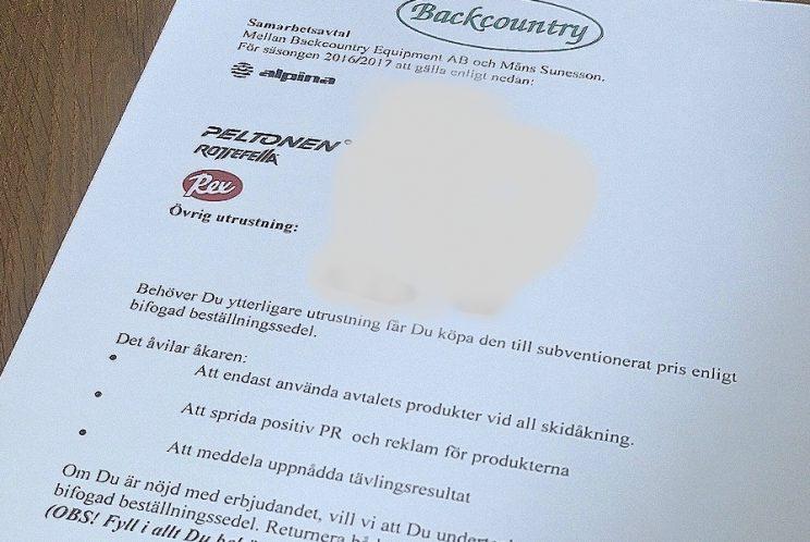 Kontrakt Måns Sunesson backcountry equipment ab