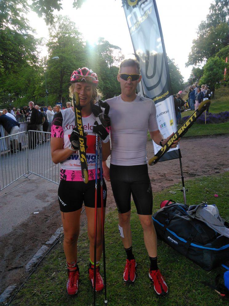 Rullskid-SM sprint 2017 Emma Larsson och Måns Sunesson
